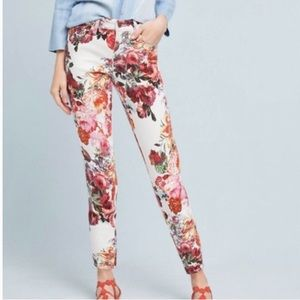Anthro pilcro floral mid rise skinny jeans rose 27